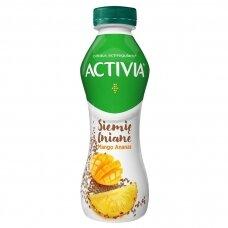ACTIVIA geriamasis jogurtas su mangais, ananasais, linų sėmenimis, 280g
