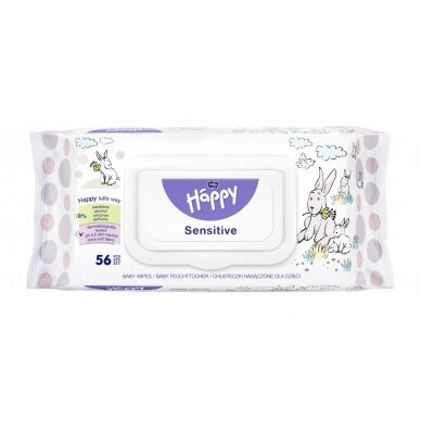 """BELLA HAPPY drėgnos servetėlės """"Sensitive"""", 56vnt."""