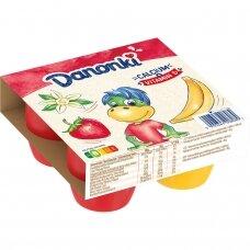 DANONKI MEGA varškė braškių-vanilės ir bananų skonio, 4*90g