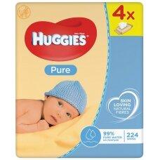 """HUGGIES drėgnos servetėlės """"Pure"""", 4*56vnt."""