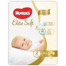 HUGGIES ELITE SOFT sauskelnės 2 (4-6 kg) Newborn Jumbo, 66 vnt.