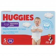 HUGGIES PANTS sauskelnės Boys 5(12-17kg) Jumbo, 34vnt