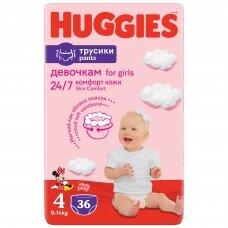 HUGGIES PANTS sauskelnės Girls 4(9-14kg) Jumbo, 36vnt.