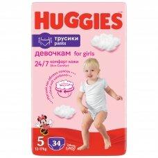 HUGGIES PANTS sauskelnės Girls 5(12-17kg) Jumbo, 34vnt.