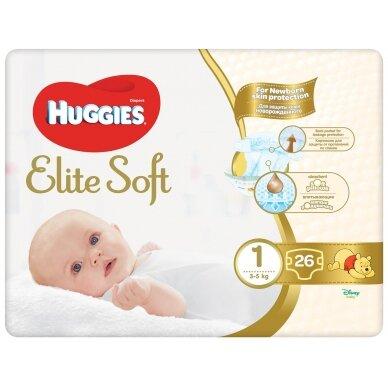 HUGGIES ELITE SOFT sauskelnės 1( 3-5 kg) Newborn, 26 vnt.