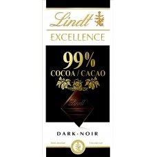 LINDT EXCELLENCE juodasis šokoladas (99%), 50g