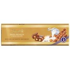 LINDT GOLD pieninis šokoladas su lazdynų riešutais, 300g