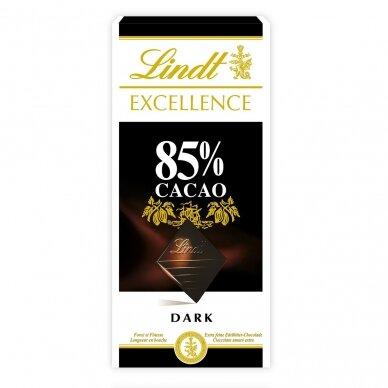 LINDT EXCELLENCE juodasis šokoladas (85%), 100g