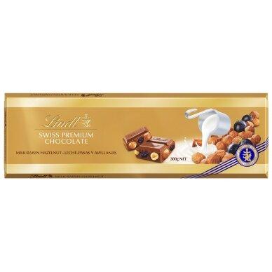 LINDT GOLD pieninis šokoladas su razinomis ir riešutais, 300g