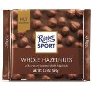 RITTER SPORT pieniškas šokoladas su neskaldytais lazdyno riešutais,100g