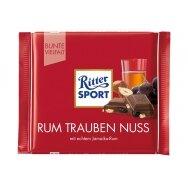 RITTER SPORT pieniškas šokoladas su razinomis ir romu, 100g
