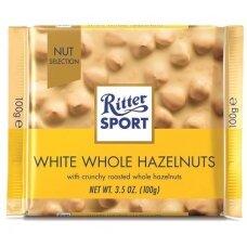 RITTER SPORT baltasis šokoladas su neskaldytais lazdyno riešutais, 100g
