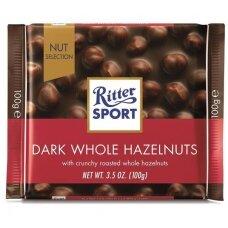 RITTER SPORT juodasis šokoladas su neskaldytais lazdyno riešutais,100g