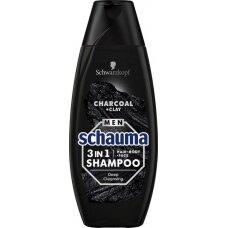 SCHAUMA MEN 3 in 1 Charcoal & Clay šampūnas, 400ml