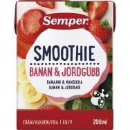 SEMPER SMOOTHIE RTE bananų,braškių kokteilis nuo 12mėn., 200ml